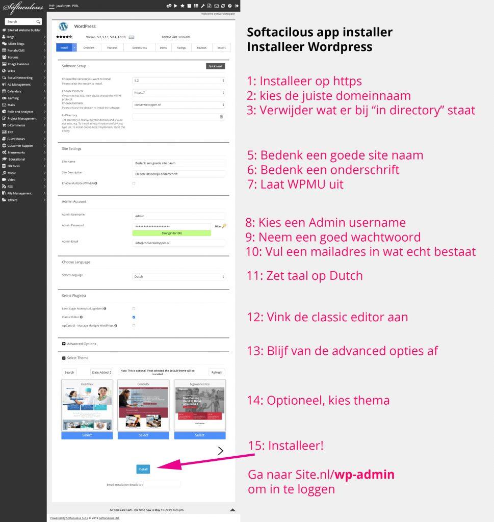 Wordpress installeren in cpanel Softacilous